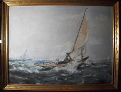 Vintage Nautical Scene, Sailboats No Artists Signature www.vintageprintsandart.com