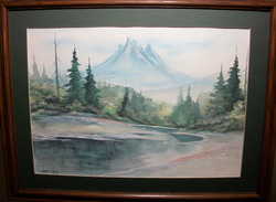 Water Color Signed by Artist LL. Looks like Shawn Huy Matted and Framed but not under Glass www.vintageprintsandart.com