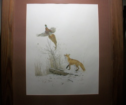 Fox and Pheasant by M G. Loates Lithograph,