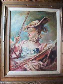 The Swing By Ernest Ronay After the Original from Jean H. Fragonard Oil on board Very nice partial copy of the Original, www.vintageprintsandart.com