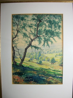 D. Offermann Watercolor of County Side Framed and matted  16 X 21 in Frame www.vintageprintsandart.com