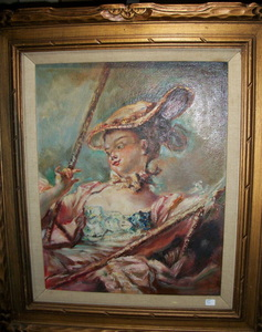EARLY 1900's AQUATINT, SIGNED ARTHUR L. COX, after FRAGONARD'S 18th CENTURY FRENCH GENRE PAINTING,  THE SWING www.vintageprintsandart.com
