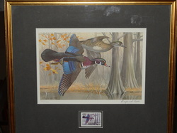 Outdoor - Hunting. Maynard Reece 1982 Arkansas Wood Ducks. Limited Edition 4934/7440 Matted and Framed.  14 X 16 Signed LR $175.00