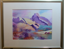 Water Color by Claire Marie C. Title: Trip to Taos signed by Artist LR www.vintageprintsandart.com