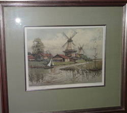 Greetsiel / Nordsee by Josef Eidenberger. Original Etching from 1984. Has a special Remarque on the LL, with sig. Also signed on the lower right side. Beautifully Framed and Matted   19 X 21 in Frame $325.00