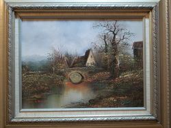 Bridge by the Old Country House Oil on Canvas by W. Warren Wood Frame 20 X 23 1/2 www.vintageprintsandart.com