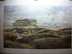 Outdoor Duck Hunting  Print by Larry Toschik - Salmon Camp on the Ilnik Tidal Basin. Gulls and old Squaws. Limited Edition Print No. 368/1500  www.vintageprintsandart.com
