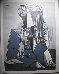 Pablo Picasso The Thinker Limited Edition Print The Print is not framed, it measures  20 X 26 www.vintageprintsandart.com