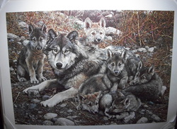 Carl Bender - Den Mother Wolf Family  Limited Edition Print  16,137/25,000 Signed LR   27 X 36  unframed  this Print is sold out at the Publisher  www.vintageprintsandart.com