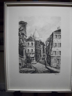 Cobble Stone Street some where in Old Germany Print Signed by Artist LR Karnier This Print was Framed in Wiesbaden. Matted and Framed 10 X13 Frame has some Paint Loss Other wise great shape www.vintageprintsandart.com